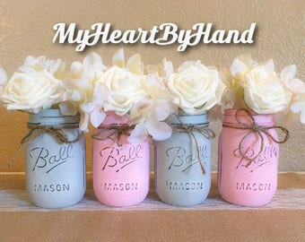 Baby Shower Decor, Baptism Centerpieces, Communions Decor, Pink Painted Mason Jars, Rustic Home Decor, Elephant Decorations, Pink and Gray