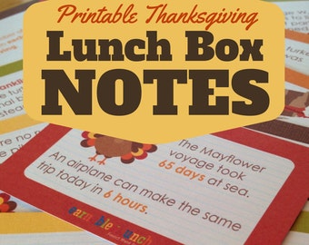 INSTANT DOWNLOAD Thanksgiving Lunch Box Notes Place Cards for Kids Printable
