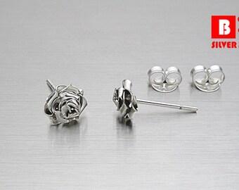 925 Sterling Silver Oxidized Earrings , Rose Earrings, Stud Earrings, Size M (Code : E23B)