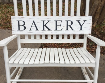BAKERY Wooden Sign, Farmhouse Sign, Rustic Sign, Fixer Upper Sign, Wall Decor, Distressed Sign
