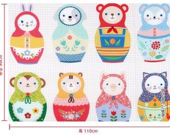 matryoshka doll fabric baby/animal matryoshka doll diy kit/baby nursery fabric/fabric panel/doll diy fabric/cute doll scandinavian nursery