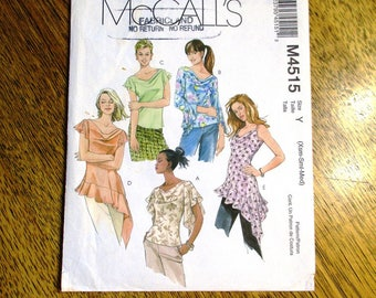 BOHO Cowl Neck Bias Cut Top w/ Asymmetric Flutter Sleeves / Fairy Tank Top - Size (Xsm - Sm - Med) - UNCUT ff Sewing Pattern McCalls 4515