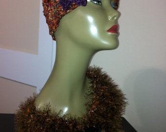 Lovely Bronze colored Cloche and Cowl Set