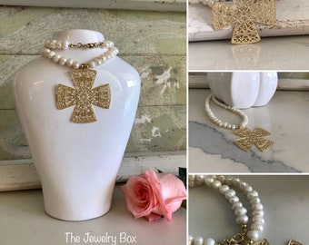 Large cross pearl necklace. Gold field.