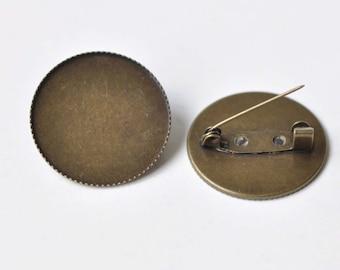 Antique Bronze Brooch Back Base Sawtooth Edge Bezel Setting Match 20mm/25mm/30mm Cabochoch Set of 10