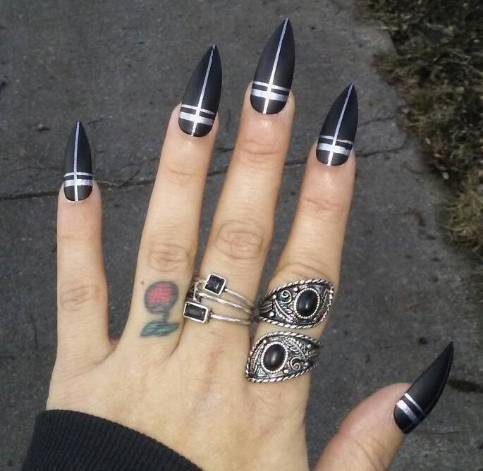 Gothic Long Black Matte Stiletto Nails Silver Crosses Occult