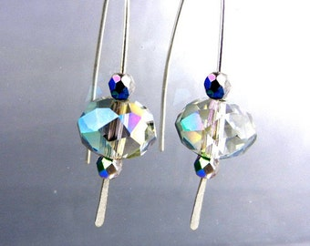 Crystal earrings with rainbow flash and hammered sterling silver wire // sparkly jewelry // wedding bridesmaid jewelry /