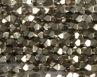 0576 5mm Faceted Pyrite nuggets loose beads 16""