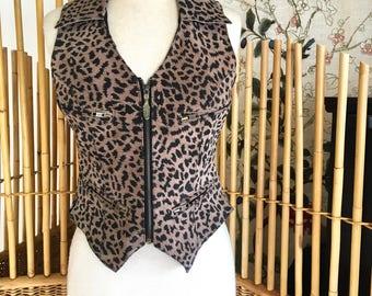 Vintage Womans Easyriders Suede Leather Vest in Animal Print