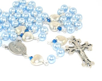 Swarovski® Pearl Rosary in Pale Blue, Traditional Catholic Wedding Rosary