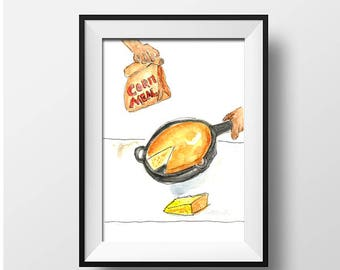 Cornbread and Iron Skillet Watercolor Print - Southern Food Illustrations
