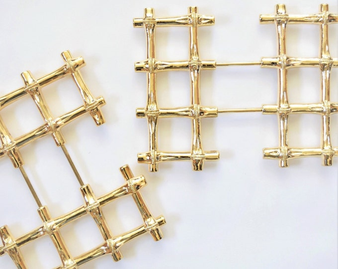 hollywood regency expandable gold metal bamboo faux trivet / coasters hot plates