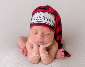 Newborn Name Hat - Lumberjack Hat - Newborn Personalized Hat - Baby Boy Hat - Buffalo Plaid Hat - Buffalo Plaid-Hospital Hat