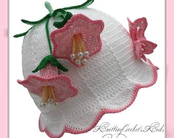 White/Pink Handmade Crocheted Baby Cloche Hat, Summer Hat for Girls
