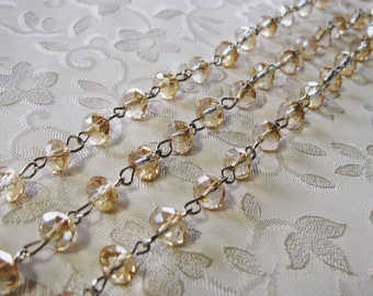 """One Meter 39.5"""" Faceted Peach Champagne AB Rondelle Glass 6 x 8mm Beaded Rosary Link Chain Antique Silver 988-05"""
