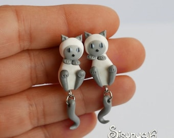 White - Gray Cats Earrings - Blue Point Siamese Cats Earrings - Gifts for her