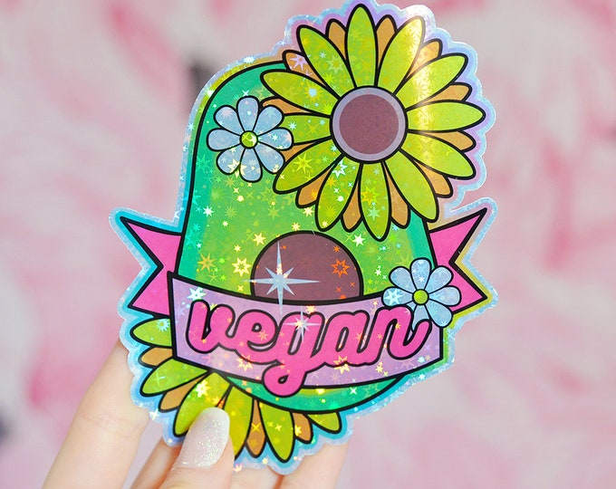 Vegan Avocado Holographic Sticker