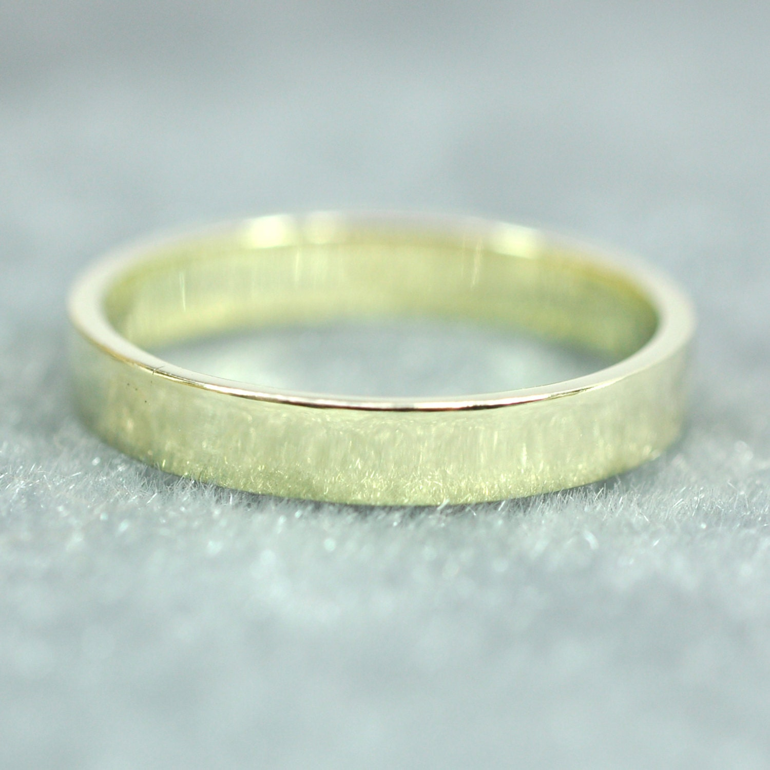 14K Green Gold 3x1mm Flat Edge Ring Solid Gold Wedding Band