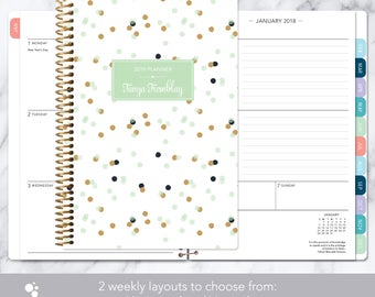 2018 planner calendar choose start month | add monthly tabs weekly student planner personalized agenda daytimer | mint gold confetti