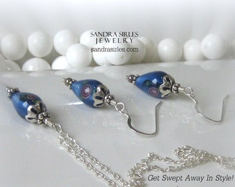 Sterling silver and Blue glass flower pear Necklace, Earring Set
