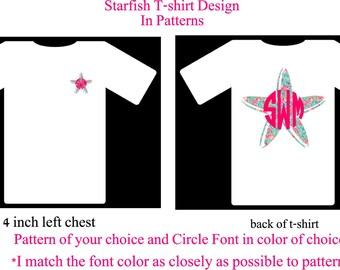 Monogram Shirt, Monogram Starfish Shirt