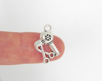 20 Hair Dryer and Scissors Charms in silver plating - 18mm x 13mm x 4mm thick - double sided
