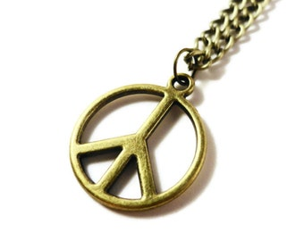 Peace Sign Necklace, Bronze Necklace, Antique Brass, Anitwar, Eco Friendly, Pendant Necklace, Metal Charm Necklace, Teen Jewelry Gift Idea