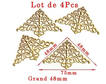 Gold plated corners model G large modern design. Size approximately 48x48mm and 75mm long set of 4Pcs