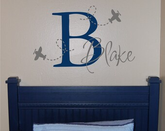 Airplane Name & Initial Wall Decal - Plane Wall Decal - Airplane Wall Decal with Name and Initial - Boy Wall Decal
