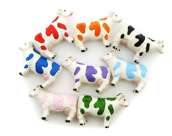 10 Large Mixed Cow Beads