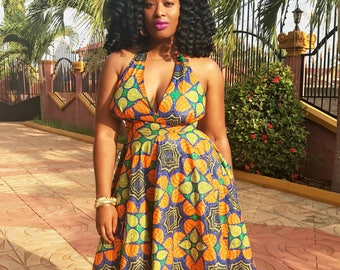 African Print Cocktail Halter Dress by GoWoman