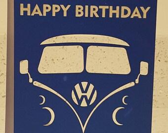 Laser cut and engraver VW Camper Van greetings card