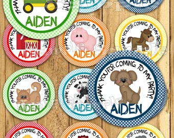 Farm birthday thank you stickers Party favor tags Thank you tags Gift tag Cupcake toppers Farm animal tag Baby shower stickers PRECUT Custom
