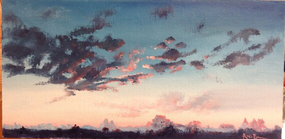 Morning Sky, Dawn Sky Painting, Landscape
