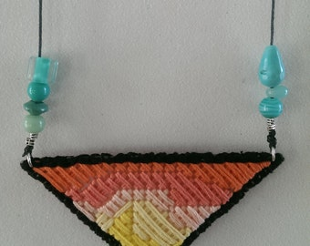 pastel woven pendant