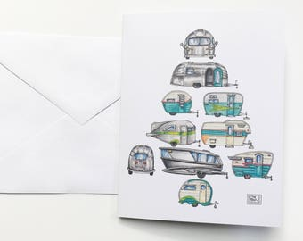 Vintage Campers Christmas Tree Christmas cards, set of 8 cards and envelopes,holiday card,Christmas tree,original watercolor, retro campers,