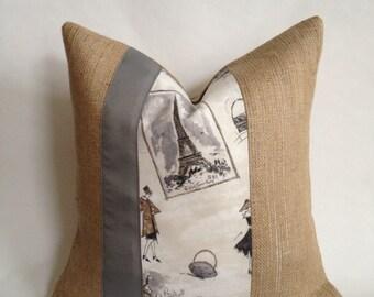 SALE 50% OFF Shopping In Paris Fabric U0026 Burlap Pillow Cover