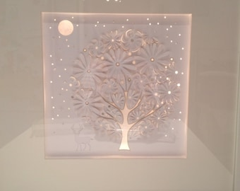 Paper cut, Paper art, Light, foral wall art, unique handmade gift, anniversary present, mothers day gift, paper
