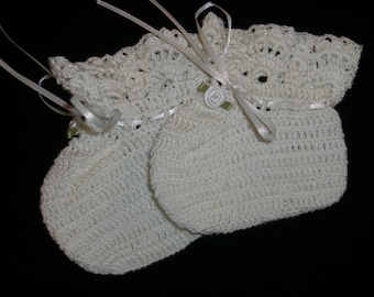 Baby Girl White Cotton Booties in Size 0-3 Months