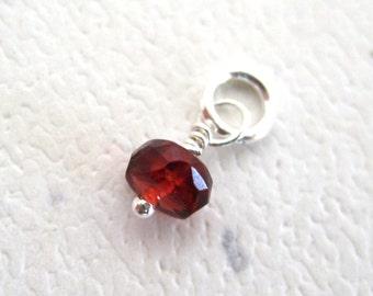 Faceted Garnet Gemstone Dangle Charm