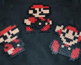 """Super Mario Bros. 3 """"Mario"""" in various poses: Small, Walking, Game Over Mario/Mario Fan art/Nintendo Perler Art/Mario Birthday/Gifts"""