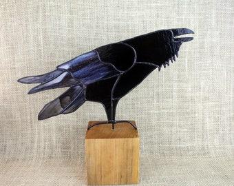 Stained Glass Raven Bird Sculpture , Stained Glass Bird, Raven Art, Gothic, Raven Art, Crow Art, Glass Art, Wildlife Art, Bird Lovers Gift