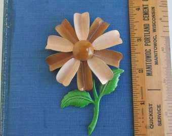 Vintage Enameled Metal Pin - Large Daisy Flower Brooch, Brown & Green
