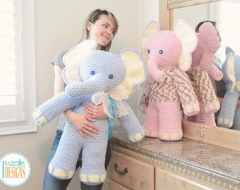 CROCHET PATTERN - Josefina and Jeffery Big Amigurumi Elephants Crochet PDF Pattern with Instant Download