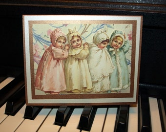 Charming Victorian Children Card - Handmade on Beautiful Papers