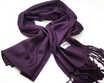 Wedding cover up scarf pashmina, bridal accessories, bridesmaids gifts, Party shawl, EGGPLANT COLOR pashmina