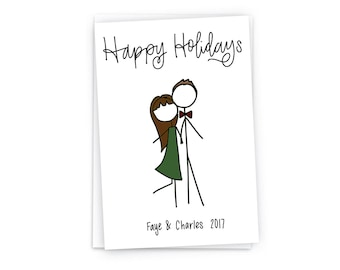 Custom Holiday with Envelopes- Digitally Hand Drawn Holiday Card - Custom Stick Figure Portrait Family Holiday