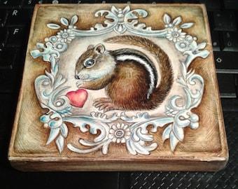 CHIPMUNK  in a frame  handpainted , original, wood block, fine art, animal art