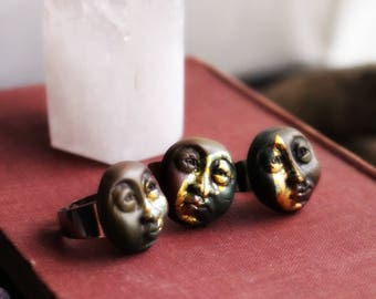 Moon Face Ring - Fully Adjustable - Handcrafted Clay & Gold Leaf  . Handmade Clay Jewelry . Goddess . Crystal and Gemstone Jewelry