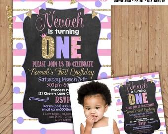 1st Birthday Invitation, 2nd Birthday Invitation, 3rd Birthday Invitation , Purple, Pink, Gold, Chalkboard, Keepsake Invitation